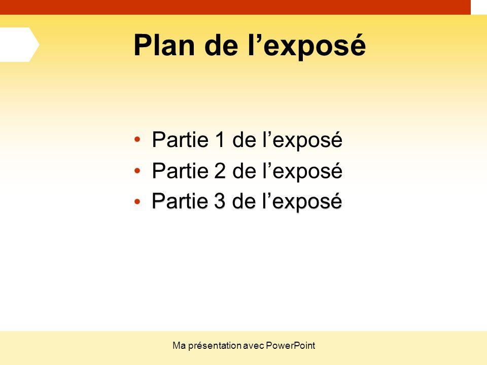 Ma présentation avec PowerPoint Plan de l'exposé Partie 1 de l'exposé Partie 2 de l'exposé Partie 3 de l'exposé Partie 1 de l'exposé Partie 2 de l'exp