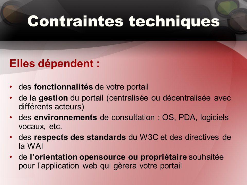 Contraintes techniques Elles dépendent : des fonctionnalités de votre portail de la gestion du portail (centralisée ou décentralisée avec différents acteurs) des environnements de consultation : OS, PDA, logiciels vocaux, etc.