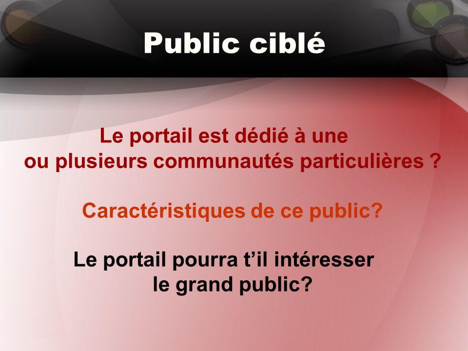 Public ciblé Le portail est dédié à une ou plusieurs communautés particulières ? Caractéristiques de ce public? Le portail pourra t'il intéresser le g