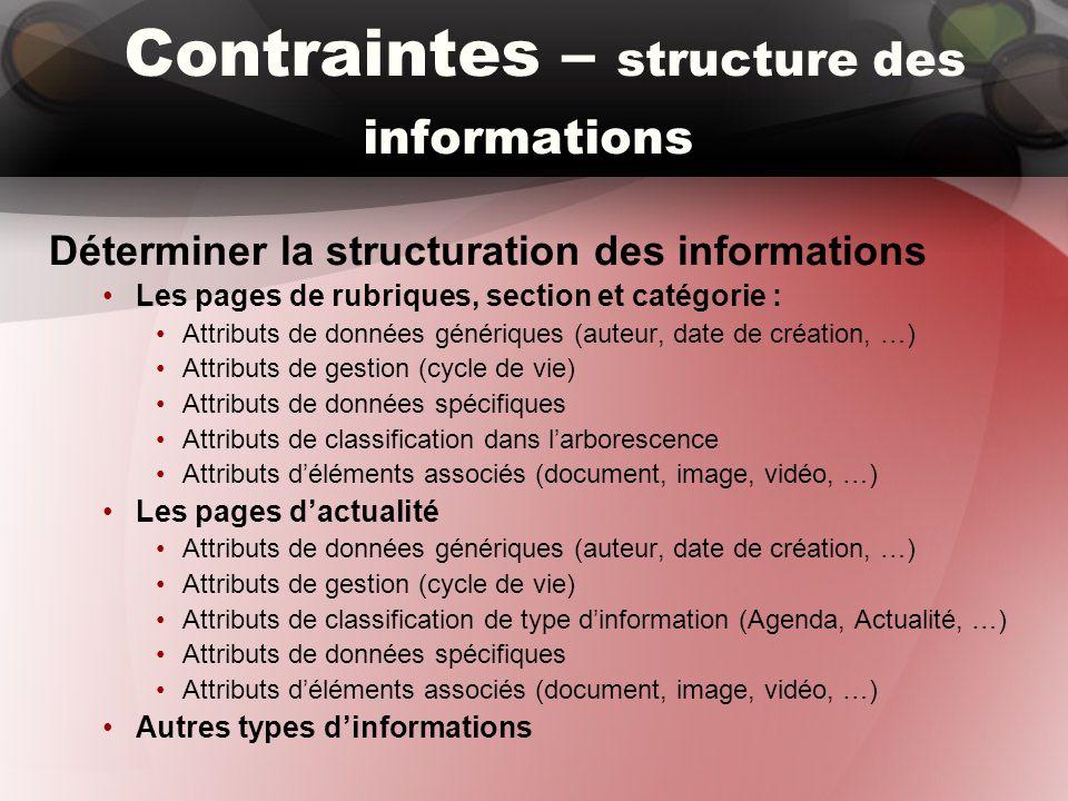 Contraintes – structure des informations Déterminer la structuration des informations Les pages de rubriques, section et catégorie : Attributs de données génériques (auteur, date de création, …) Attributs de gestion (cycle de vie) Attributs de données spécifiques Attributs de classification dans l'arborescence Attributs d'éléments associés (document, image, vidéo, …) Les pages d'actualité Attributs de données génériques (auteur, date de création, …) Attributs de gestion (cycle de vie) Attributs de classification de type d'information (Agenda, Actualité, …) Attributs de données spécifiques Attributs d'éléments associés (document, image, vidéo, …) Autres types d'informations