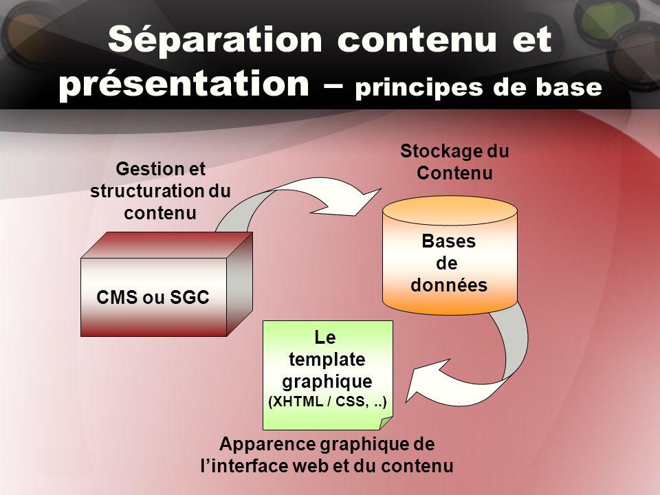 CMS ou SGC Séparation contenu et présentation – principes de base Bases de données Stockage du Contenu Gestion et structuration du contenu Le template graphique (XHTML / CSS,..) Apparence graphique de l'interface web et du contenu