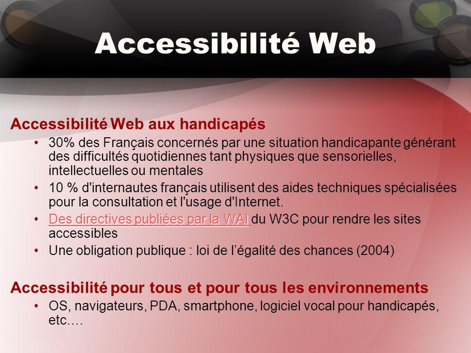 Accessibilité Web Accessibilité Web aux handicapés 30% des Français concernés par une situation handicapante générant des difficultés quotidiennes tant physiques que sensorielles, intellectuelles ou mentales 10 % d internautes français utilisent des aides techniques spécialisées pour la consultation et l usage d Internet.
