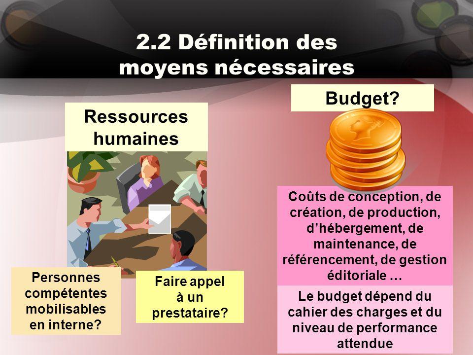 2.2 Définition des moyens nécessaires Ressources humaines Budget? Personnes compétentes mobilisables en interne? Faire appel à un prestataire? Coûts d