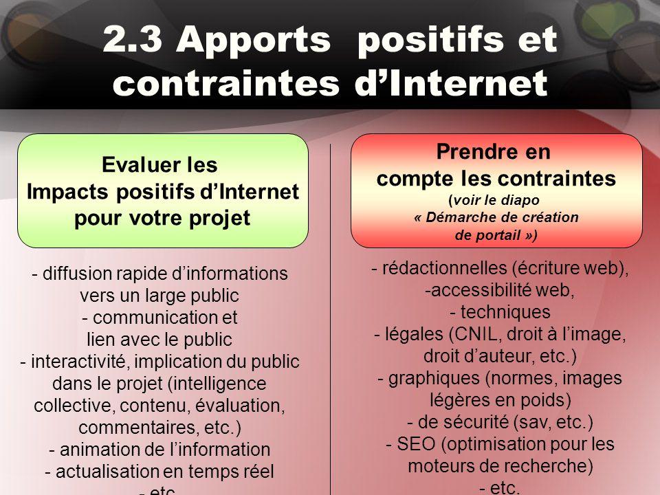 2.3 Apports positifs et contraintes d'Internet Evaluer les Impacts positifs d'Internet pour votre projet Prendre en compte les contraintes (voir le di