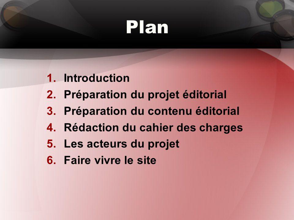Plan 1.Introduction 2.Préparation du projet éditorial 3.Préparation du contenu éditorial 4.Rédaction du cahier des charges 5.Les acteurs du projet 6.F