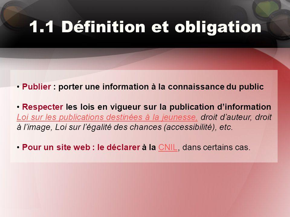 1.1 Définition et obligation Publier : porter une information à la connaissance du public Respecter les lois en vigueur sur la publication d'informati