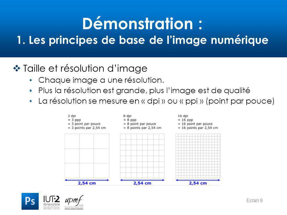 Ecran 9 Démonstration : 1. Les principes de base de l'image numérique  Taille et résolution d'image Chaque image a une résolution. Plus la résolution