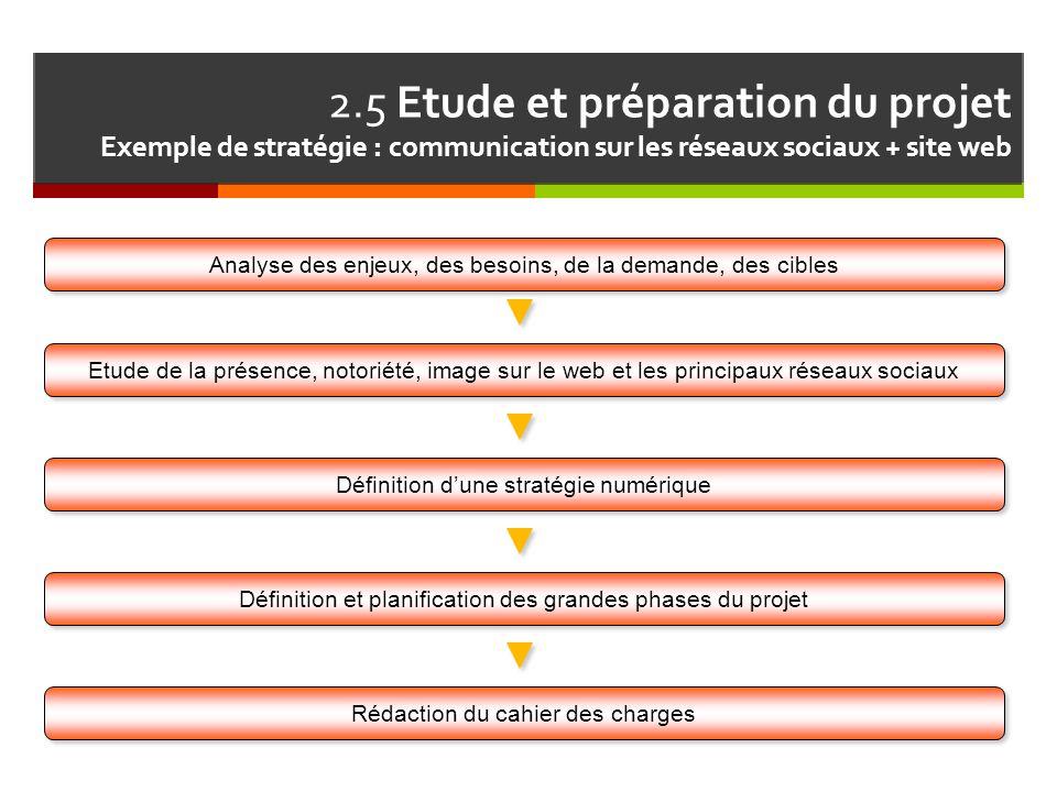 2.5 Etude et préparation du projet Exemple de stratégie : communication sur les réseaux sociaux + site web Définition et planification des grandes pha
