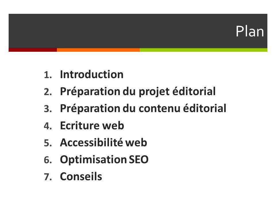 Plan 1. Introduction 2. Préparation du projet éditorial 3. Préparation du contenu éditorial 4. Ecriture web 5. Accessibilité web 6. Optimisation SEO 7