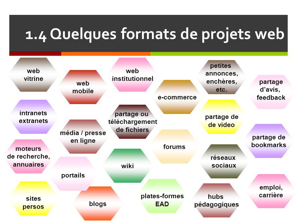 1.4 Quelques formats de projets web web mobile blogs wiki portails partage de de video intranets extranets moteurs de recherche, annuaires plates-form