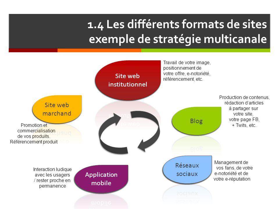 1.4 Les différents formats de sites exemple de stratégie multicanale Production de contenus, rédaction d'articles à partager sur votre site, votre pag