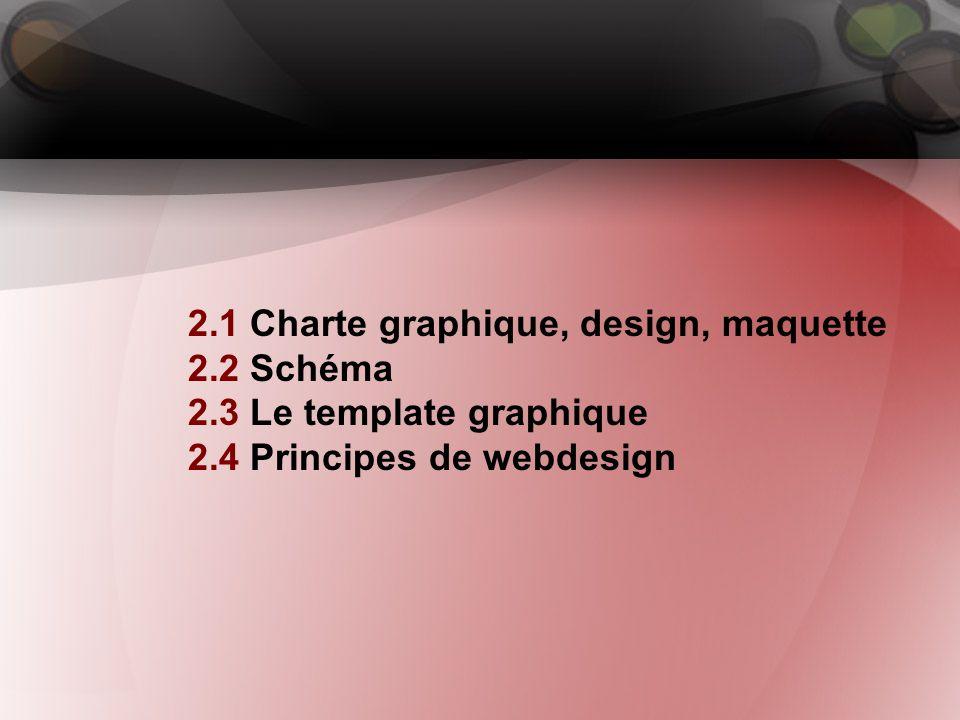 2. Webdesign 2.1 Charte graphique, design, maquette 2.2 Schéma 2.3 Le template graphique 2.4 Principes de webdesign