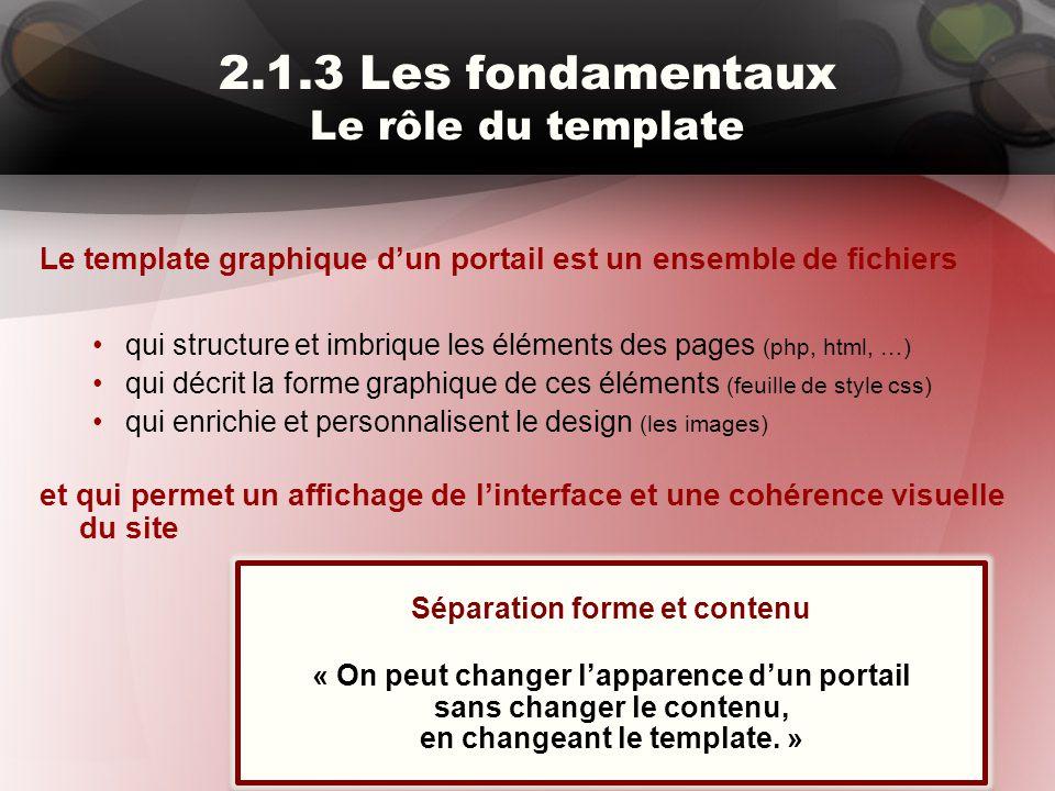 2.1.3 Les fondamentaux Le rôle du template Le template graphique d'un portail est un ensemble de fichiers qui structure et imbrique les éléments des p