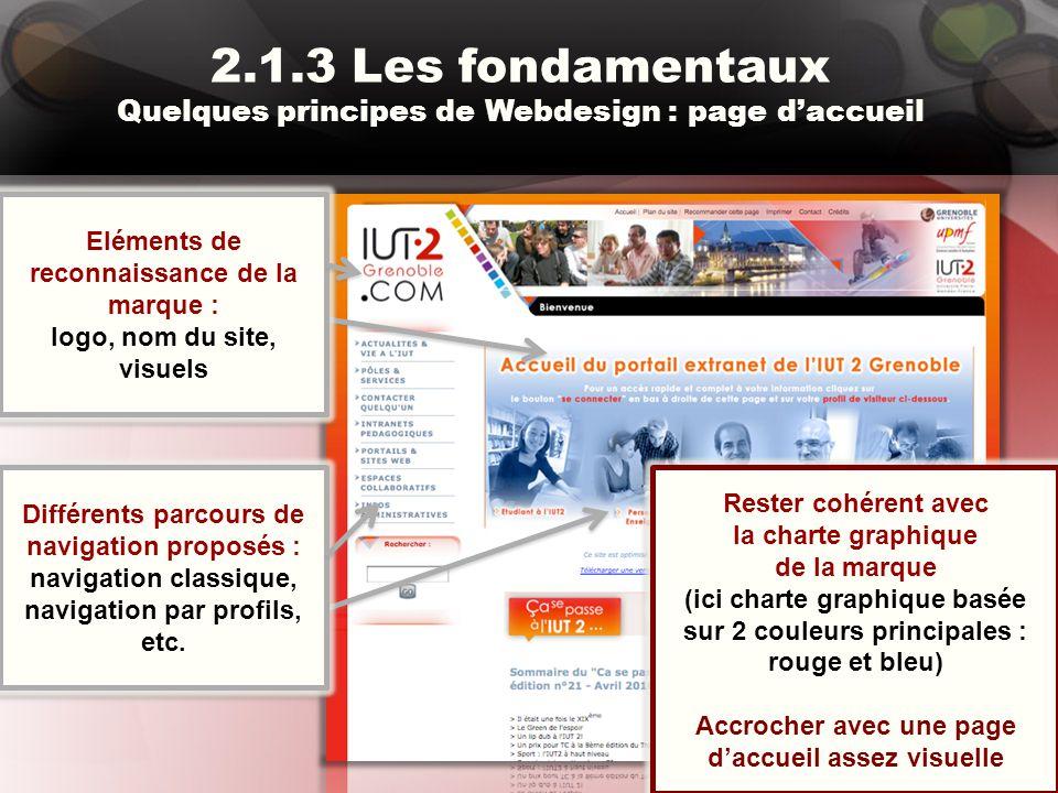 2.1.3 Les fondamentaux Quelques principes de Webdesign : page d'accueil Rester cohérent avec la charte graphique de la marque (ici charte graphique ba