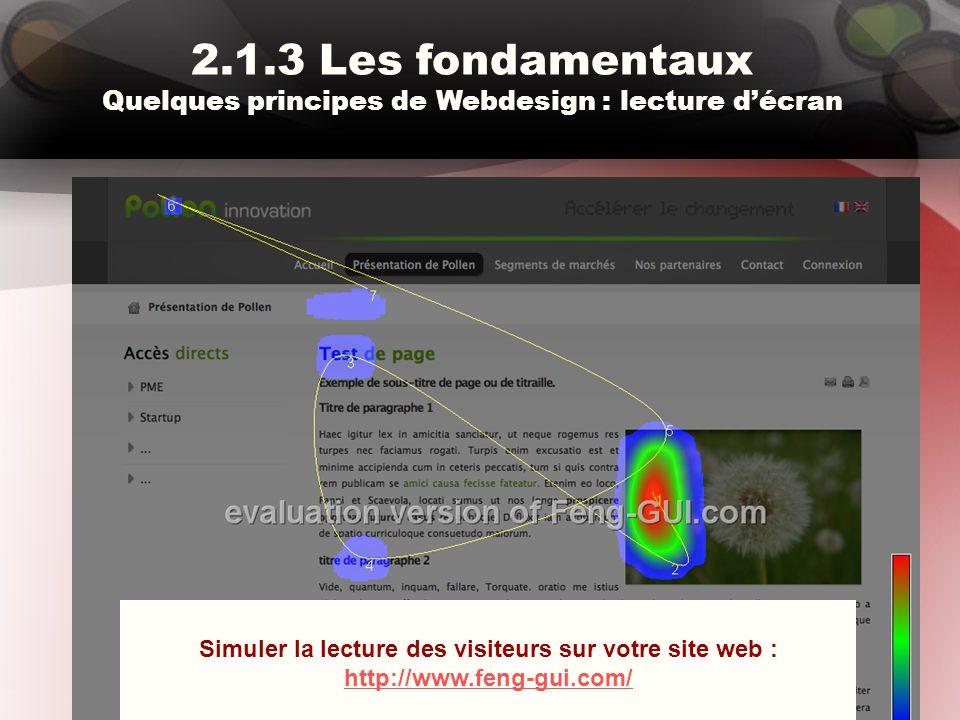 2.1.3 Les fondamentaux Quelques principes de Webdesign : lecture d'écran Simuler la lecture des visiteurs sur votre site web : http://www.feng-gui.com