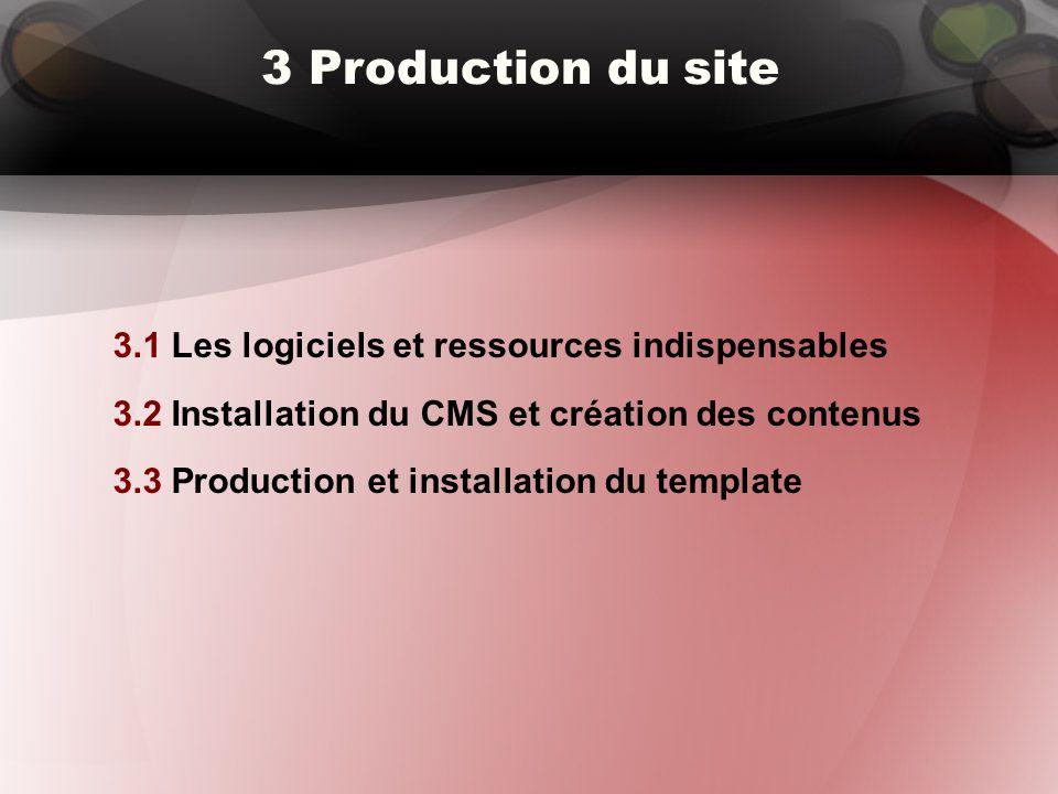 3 Production du site 3.1 Les logiciels et ressources indispensables 3.2 Installation du CMS et création des contenus 3.3 Production et installation du