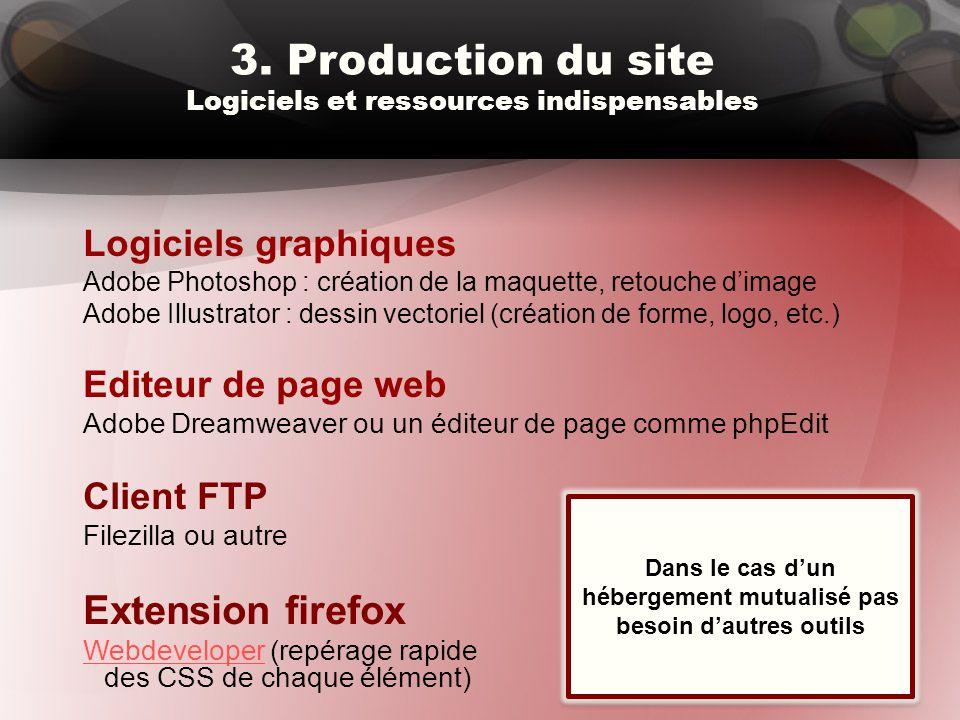 3. Production du site Logiciels et ressources indispensables Logiciels graphiques Adobe Photoshop : création de la maquette, retouche d'image Adobe Il