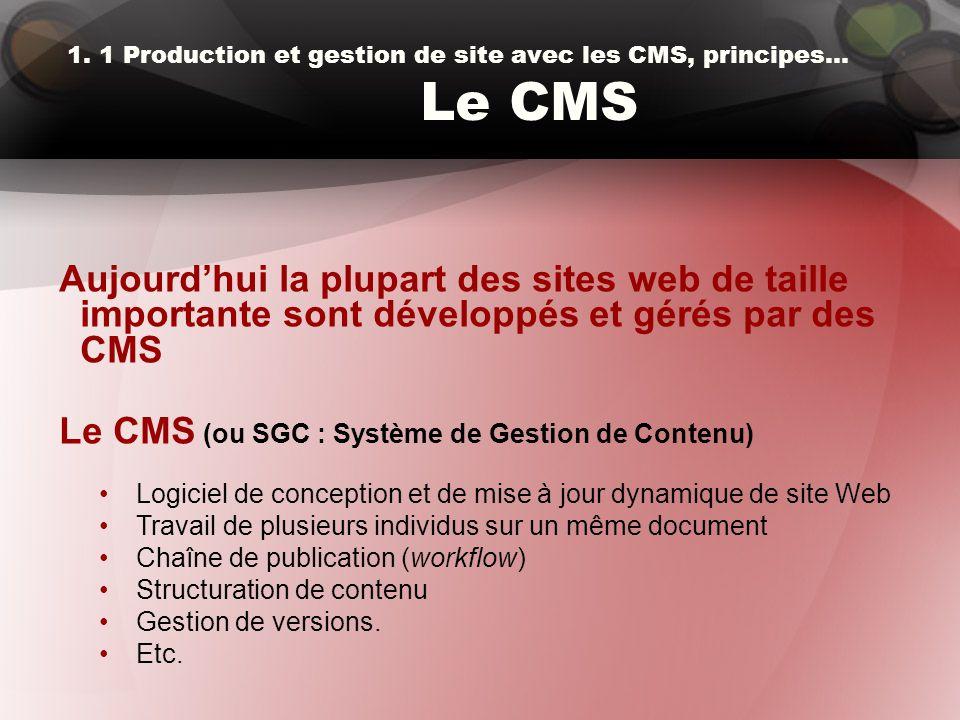 1. 1 Production et gestion de site avec les CMS, principes… Le CMS Aujourd'hui la plupart des sites web de taille importante sont développés et gérés