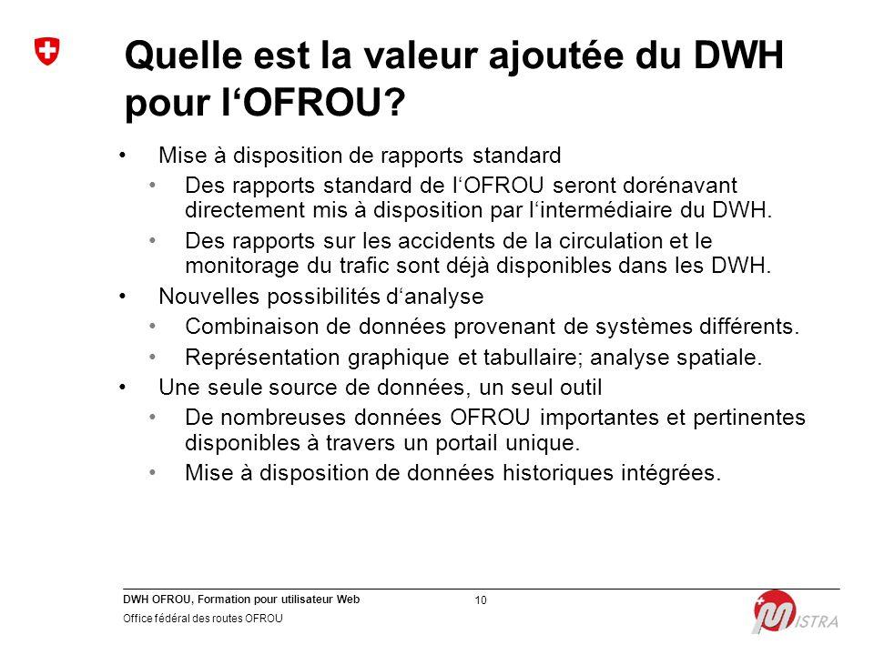 DWH OFROU, Formation pour utilisateur Web Office fédéral des routes OFROU 10 Quelle est la valeur ajoutée du DWH pour l'OFROU? Mise à disposition de r