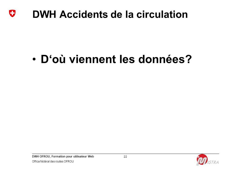 DWH OFROU, Formation pour utilisateur Web Office fédéral des routes OFROU 22 DWH Accidents de la circulation D'où viennent les données?