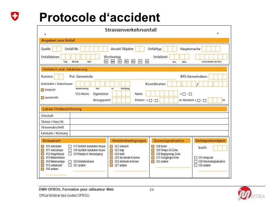 DWH OFROU, Formation pour utilisateur Web Office fédéral des routes OFROU 24 Protocole d'accident
