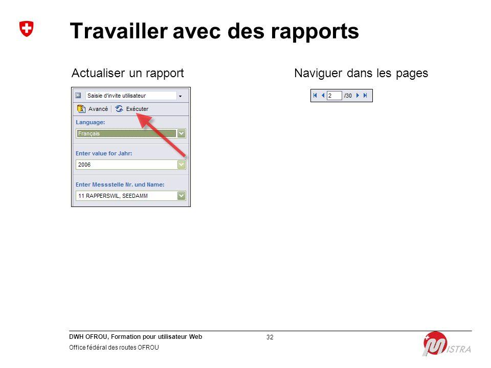 DWH OFROU, Formation pour utilisateur Web Office fédéral des routes OFROU 32 Travailler avec des rapports Actualiser un rapportNaviguer dans les pages