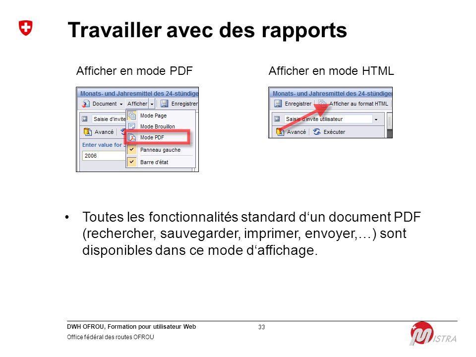 DWH OFROU, Formation pour utilisateur Web Office fédéral des routes OFROU 33 Afficher en mode PDFAfficher en mode HTML Toutes les fonctionnalités stan