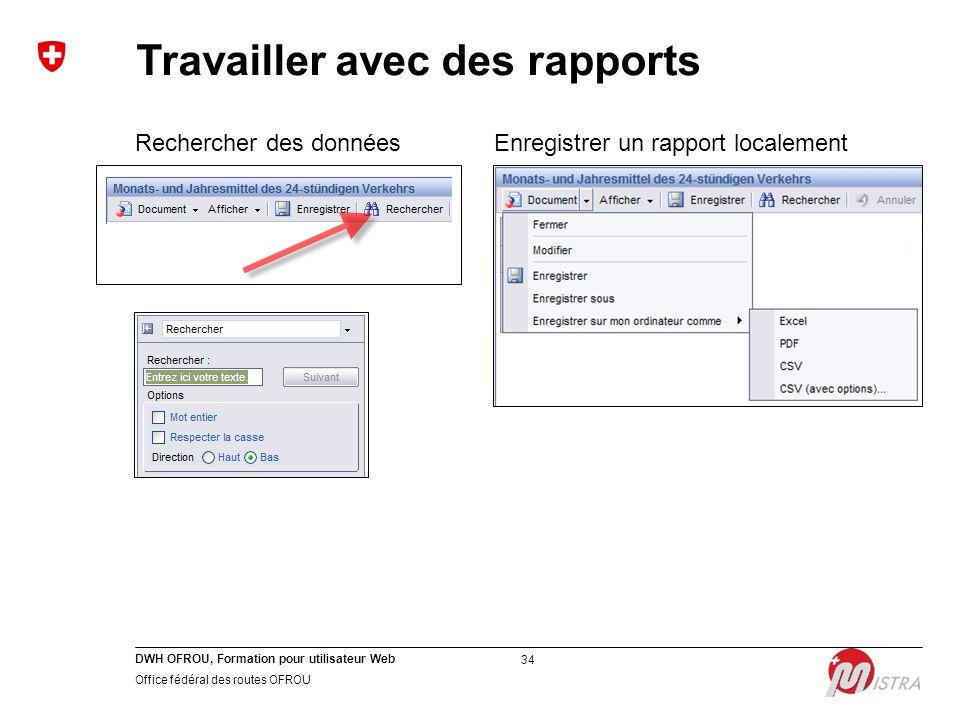 DWH OFROU, Formation pour utilisateur Web Office fédéral des routes OFROU 34 Rechercher des donnéesEnregistrer un rapport localement Travailler avec des rapports