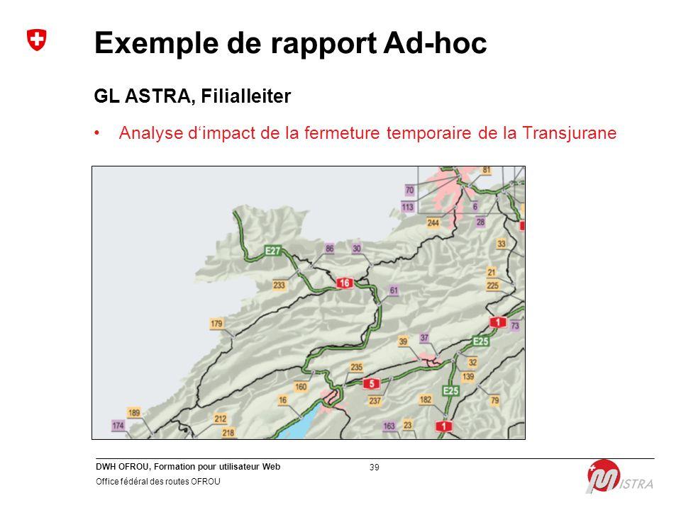 DWH OFROU, Formation pour utilisateur Web Office fédéral des routes OFROU 39 GL ASTRA, Filialleiter Analyse d'impact de la fermeture temporaire de la Transjurane Exemple de rapport Ad-hoc