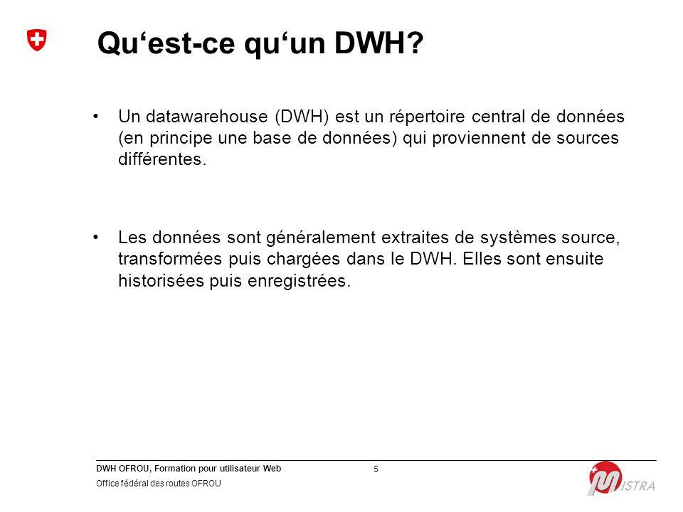DWH OFROU, Formation pour utilisateur Web Office fédéral des routes OFROU 5 Qu'est-ce qu'un DWH? Un datawarehouse (DWH) est un répertoire central de d