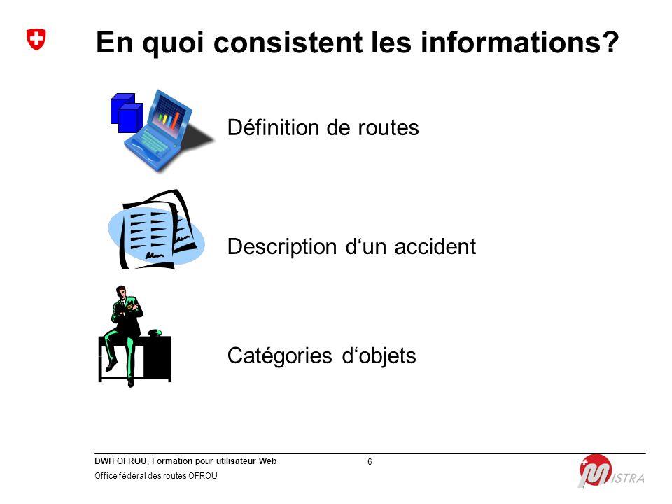 DWH OFROU, Formation pour utilisateur Web Office fédéral des routes OFROU 6 En quoi consistent les informations? Catégories d'objets Définition de rou
