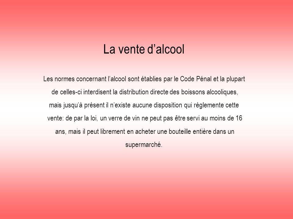 La vente d'alcool Les normes concernant l'alcool sont établies par le Code Pénal et la plupart de celles-ci interdisent la distribution directe des bo