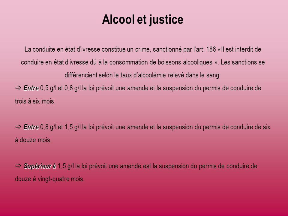 Alcool et justice La conduite en état d'ivresse constitue un crime, sanctionné par l'art. 186 «Il est interdit de conduire en état d'ivresse dû à la c