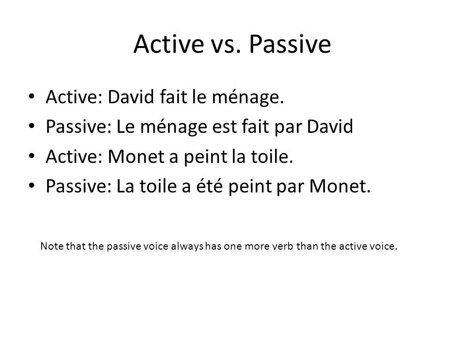 Active vs. Passive Active: David fait le ménage. Passive: Le ménage est fait par David Active: Monet a peint la toile. Passive: La toile a été peint p