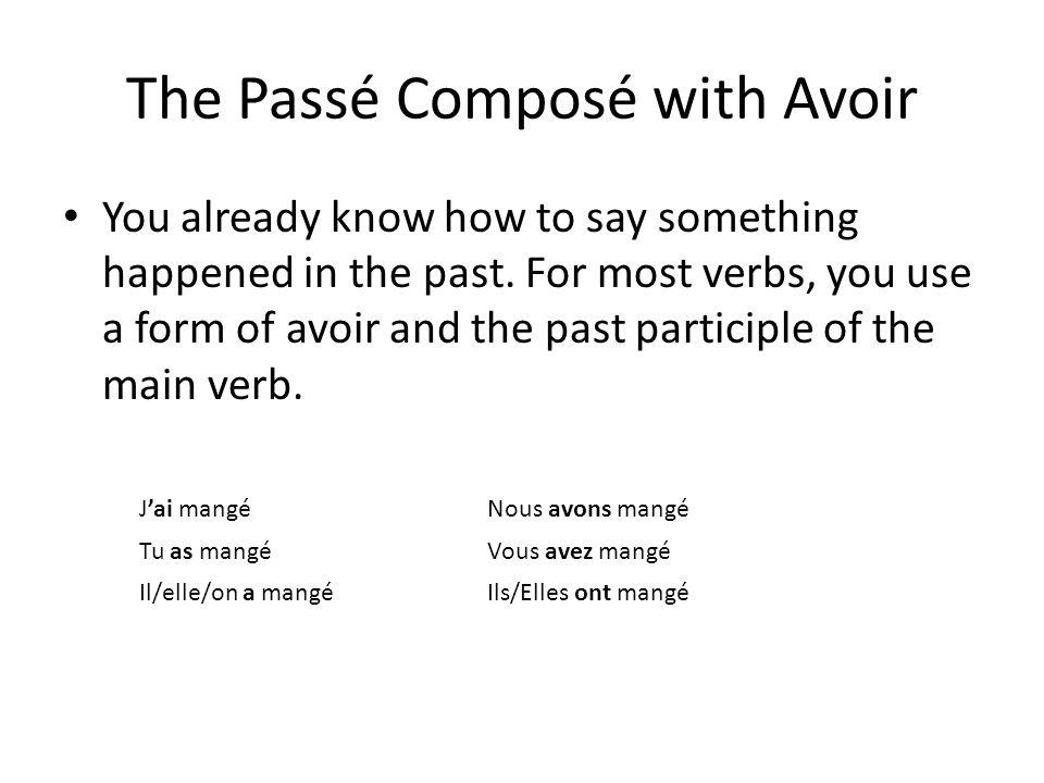 Le formule!!!! Subject +avoir + past participle -er……..….é -ir.....…..…i -re……..…u