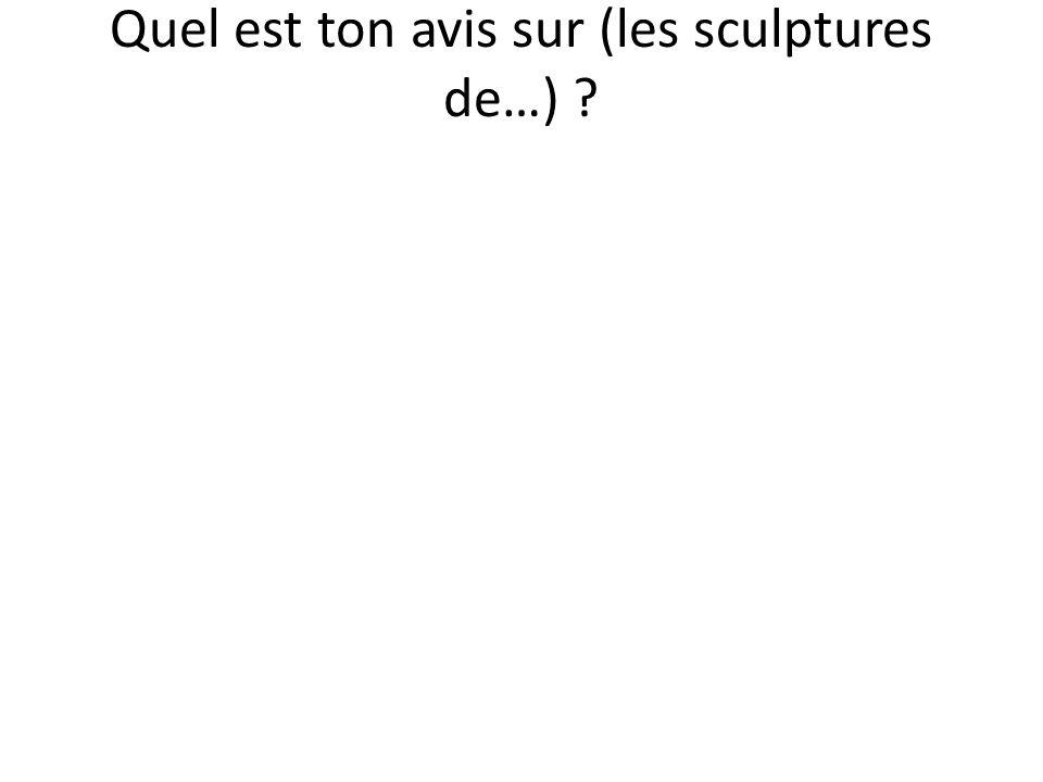 Quel est ton avis sur (les sculptures de…) ?