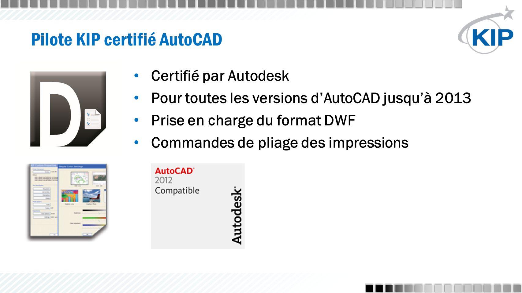 Certifié par Autodesk Pour toutes les versions d'AutoCAD jusqu'à 2013 Prise en charge du format DWF Commandes de pliage des impressions