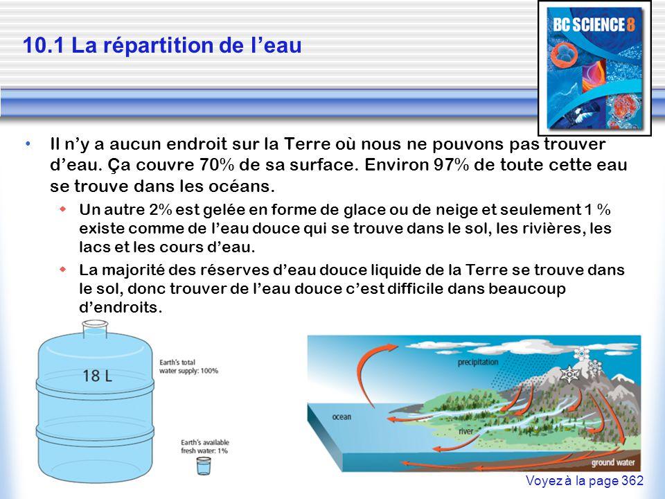 10.1 La répartition de l'eau Il n'y a aucun endroit sur la Terre où nous ne pouvons pas trouver d'eau. Ça couvre 70% de sa surface. Environ 97% de tou
