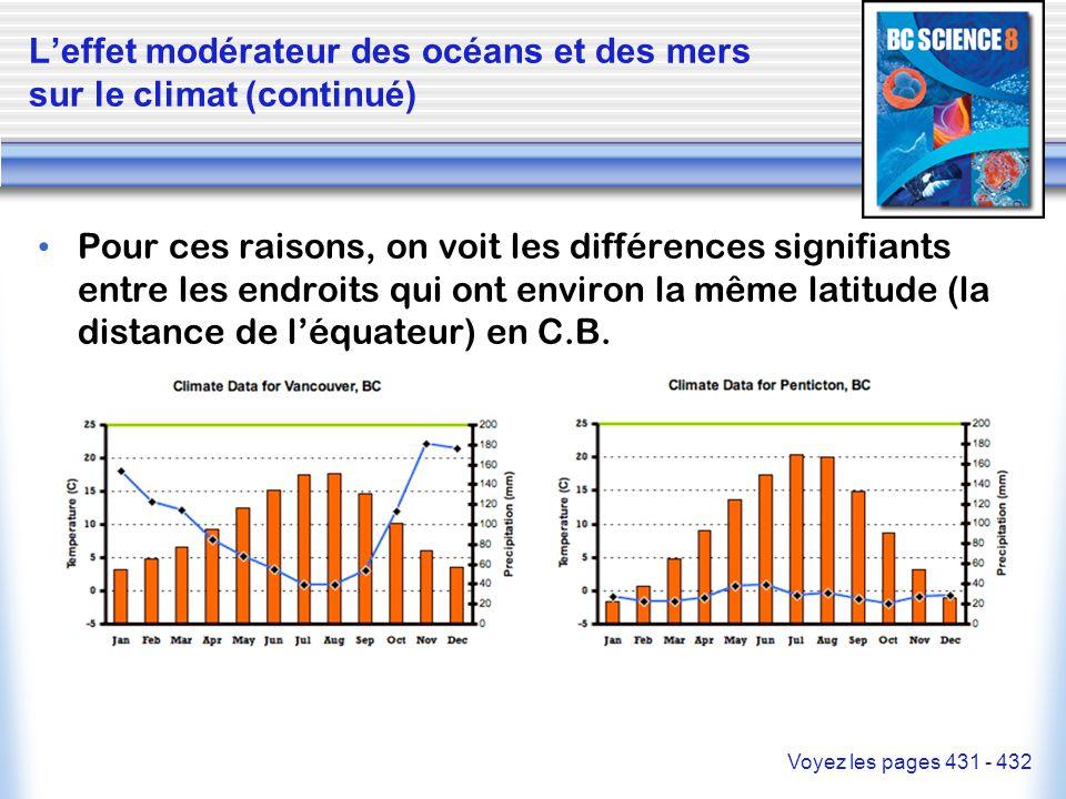 L'effet modérateur des océans et des mers sur le climat (continué) Pour ces raisons, on voit les différences signifiants entre les endroits qui ont en