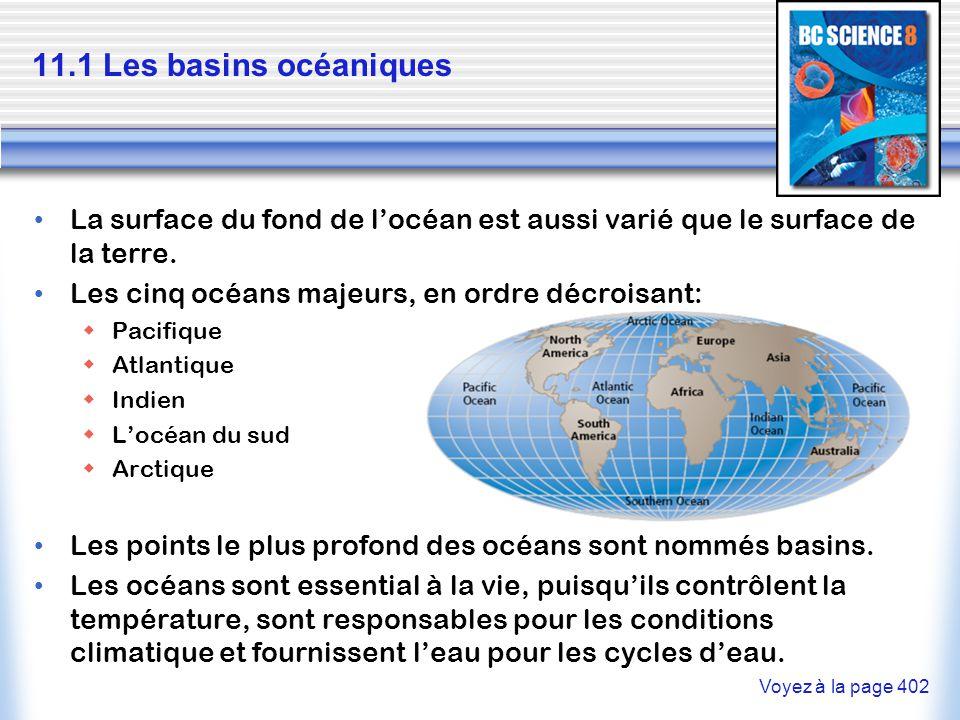 11.1 Les basins océaniques La surface du fond de l'océan est aussi varié que le surface de la terre. Les cinq océans majeurs, en ordre décroisant:  P