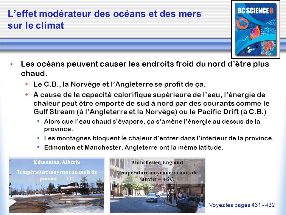 L'effet modérateur des océans et des mers sur le climat Les océans peuvent causer les endroits froid du nord d'être plus chaud.  Le C.B., la Norvège