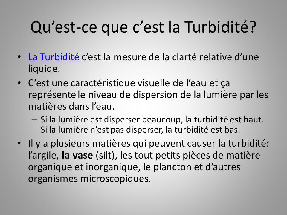 Qu'est-ce que c'est la Turbidité? La Turbidité c'est la mesure de la clarté relative d'une liquide. La Turbidité C'est une caractéristique visuelle de