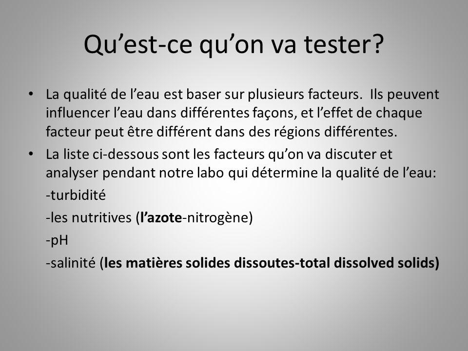 Qu'est-ce qu'on va tester? La qualité de l'eau est baser sur plusieurs facteurs. Ils peuvent influencer l'eau dans différentes façons, et l'effet de c