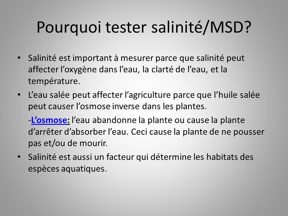 Pourquoi tester salinité/MSD? Salinité est important à mesurer parce que salinité peut affecter l'oxygène dans l'eau, la clarté de l'eau, et la tempér