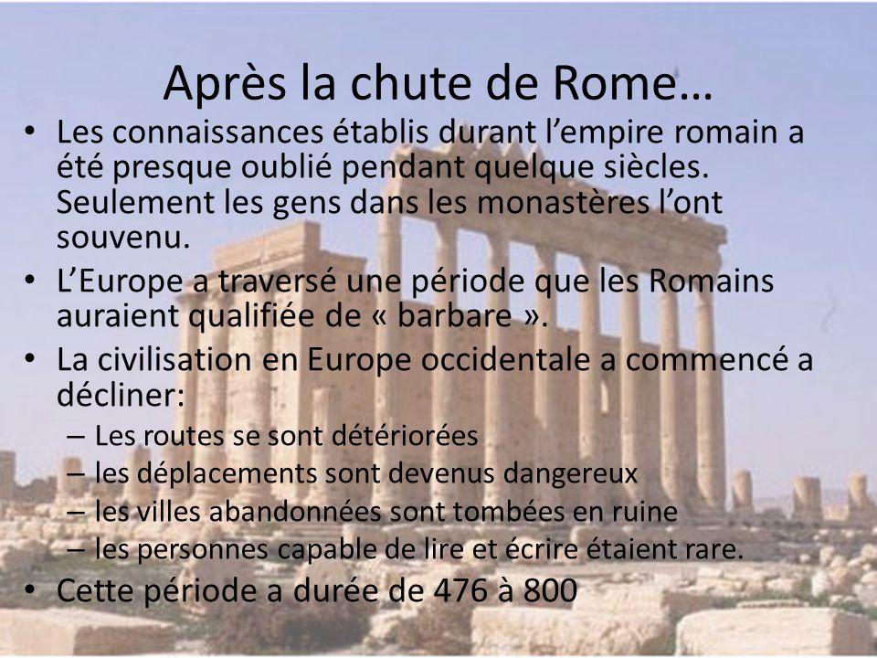 Après la chute de Rome… Les connaissances établis durant l'empire romain a été presque oublié pendant quelque siècles.