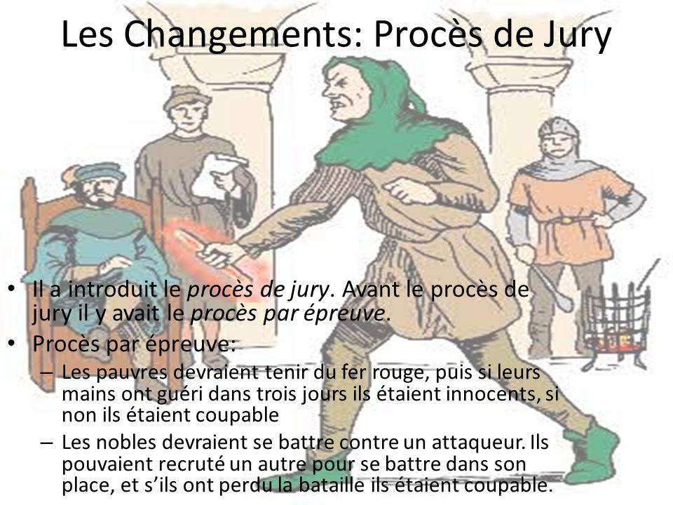 Les Changements: Procès de Jury Il a introduit le procès de jury.