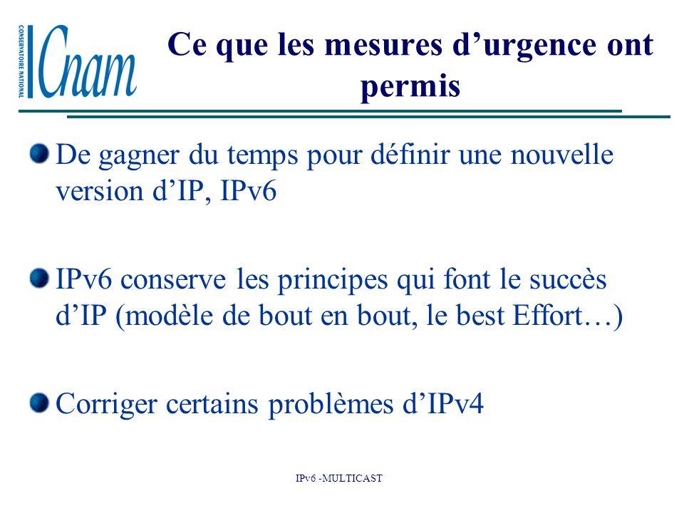 IPv6 -MULTICAST Ce que les mesures d'urgence ont permis De gagner du temps pour définir une nouvelle version d'IP, IPv6 IPv6 conserve les principes qui font le succès d'IP (modèle de bout en bout, le best Effort…) Corriger certains problèmes d'IPv4