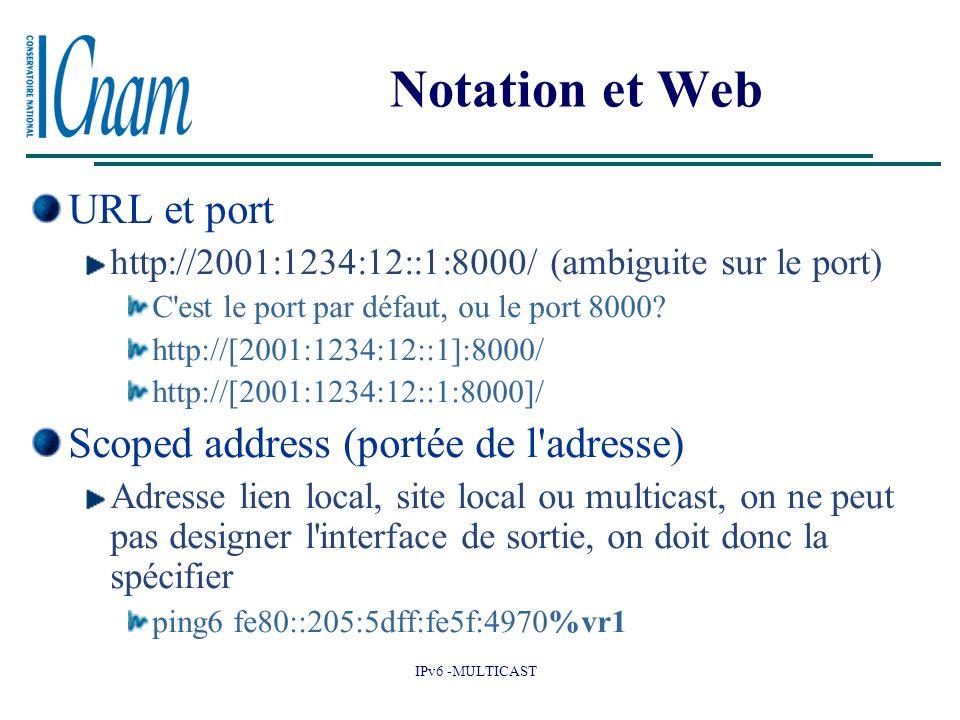 IPv6 -MULTICAST Notation et Web URL et port http://2001:1234:12::1:8000/ (ambiguite sur le port) C est le port par défaut, ou le port 8000.