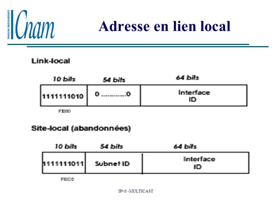 IPv6 -MULTICAST Adresse en lien local