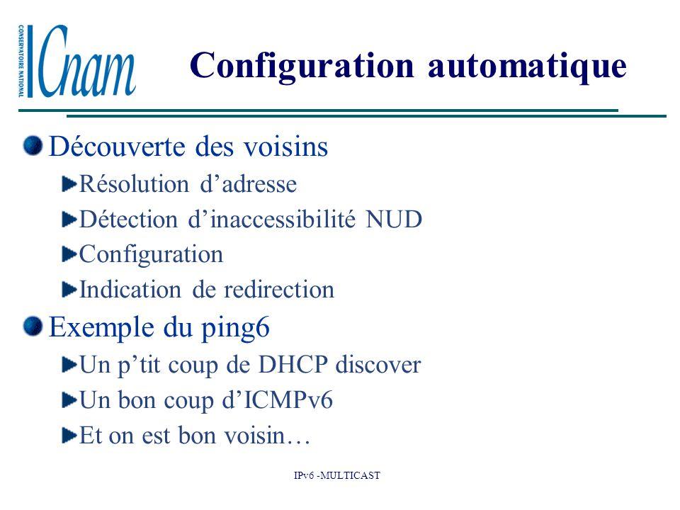 IPv6 -MULTICAST Configuration automatique Découverte des voisins Résolution d'adresse Détection d'inaccessibilité NUD Configuration Indication de redirection Exemple du ping6 Un p'tit coup de DHCP discover Un bon coup d'ICMPv6 Et on est bon voisin…